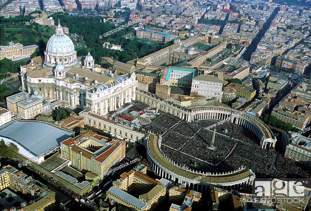 Stock Photo: Aerial view of Saint Peter's Basilica and Square during the canonization of monsignor Josemaria Escriva de Balaguer, founder of the institution of the Roman.
