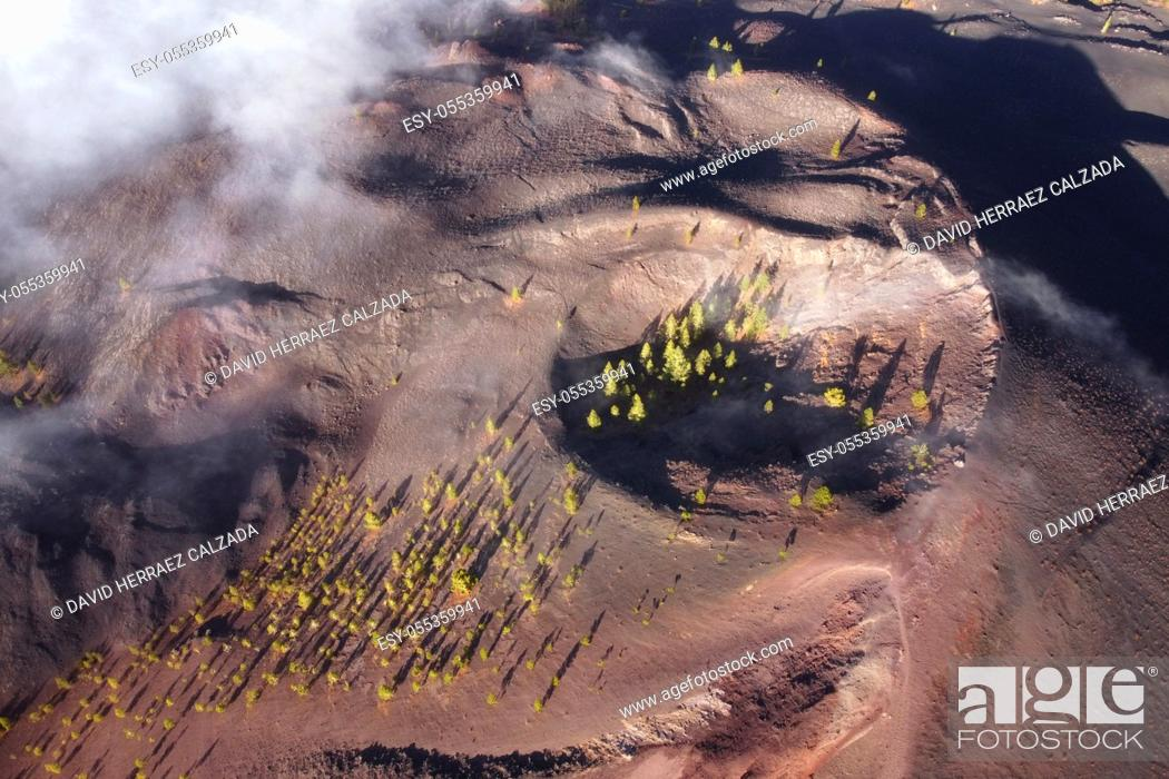 Stock Photo: Aerial view of volcanic landscape. Volcanic crater in Tenerife, Canary islands, Spain. High quality image.