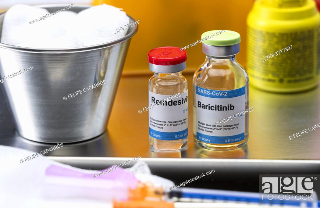 Stock Photo: Medication prepared for people affected by Covid-19, baricitinib in combination with remdesivir as a treatment for patients infected in experimental use.