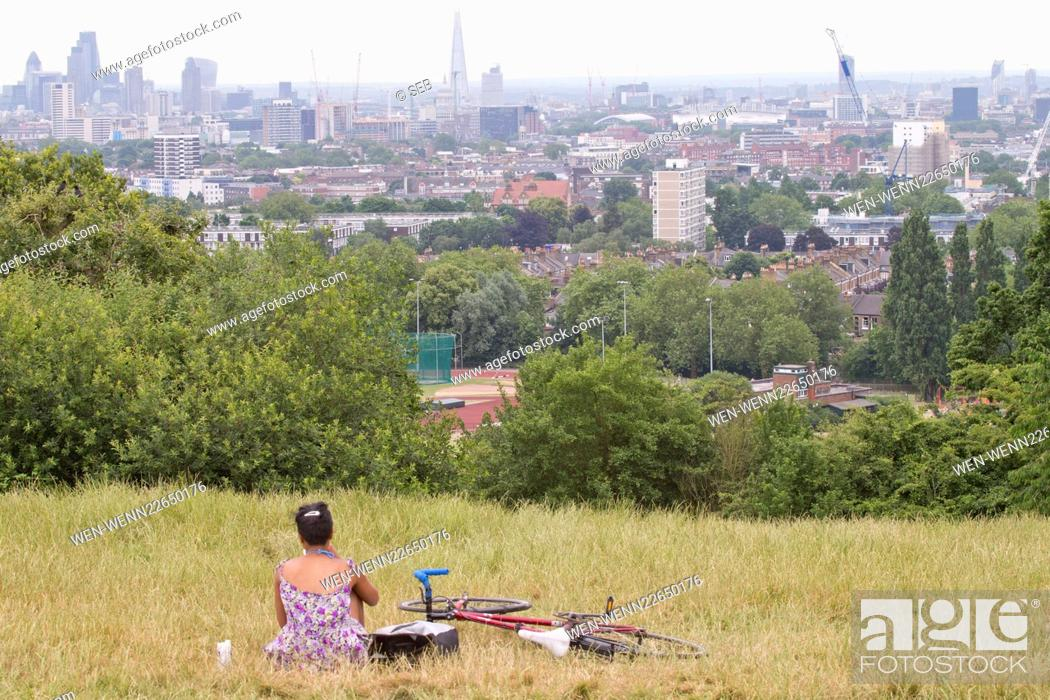 Stock Photo: People chilling in Hampstead Heath on the hottest day Featuring: Atmosphere Where: London, United Kingdom When: 01 Jul 2015 Credit: Seb/WENN.com.