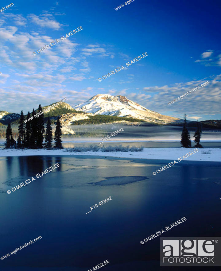 Stock Photo: Sunrise on South Sister from Sparks Lake after fall snowstorm. Deschutes National Forest, Deschutes County. Central Oregon. USA.