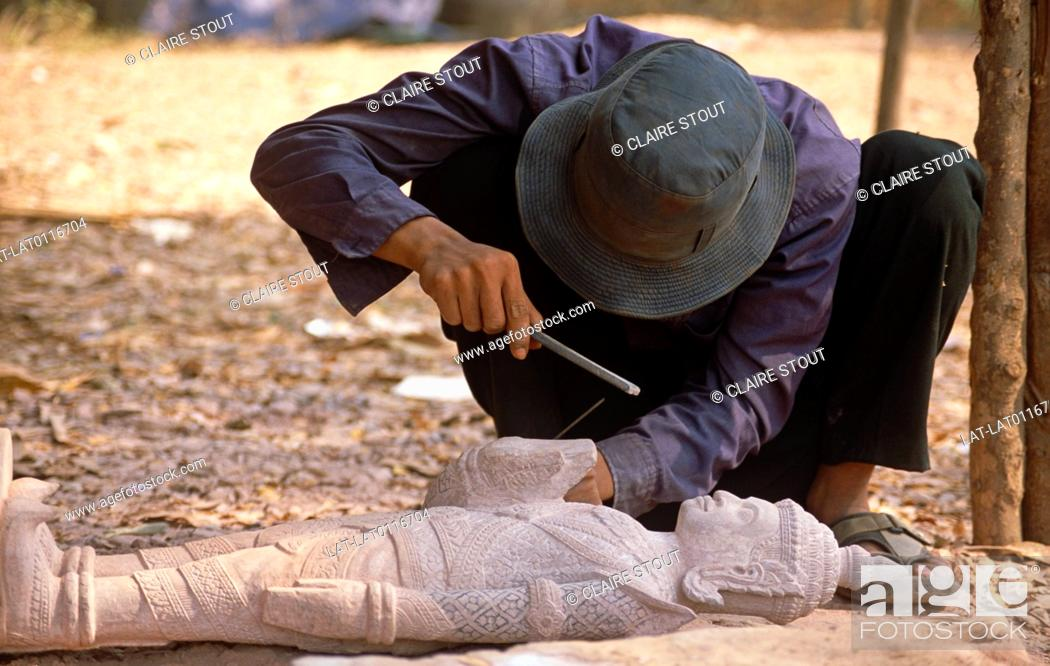 A stonemason is a person who carves and sculpts stone using