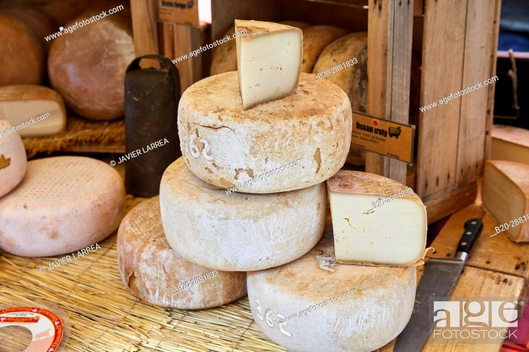 Stock Photo: Cheese market, Ossau Iraty Cheese, Hendaye, Aquitaine, Pyrenees Atlantiques, France.