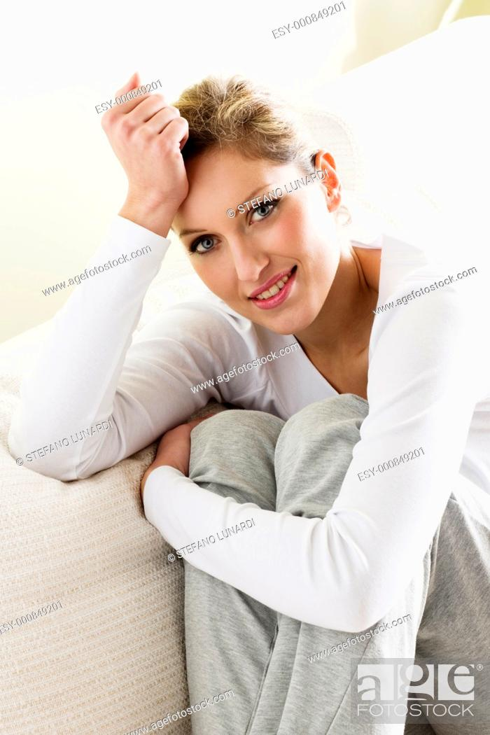 Stock Photo: Smiling relaxed woman.