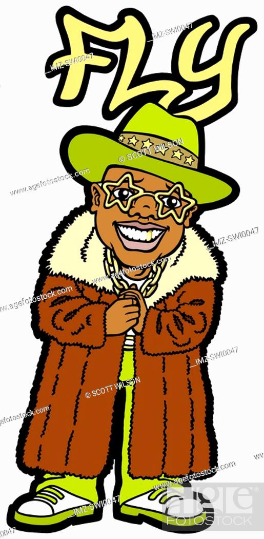 Stock Photo: An illustration of a man wearing a large fur coat and star shaped glasses - Fly.