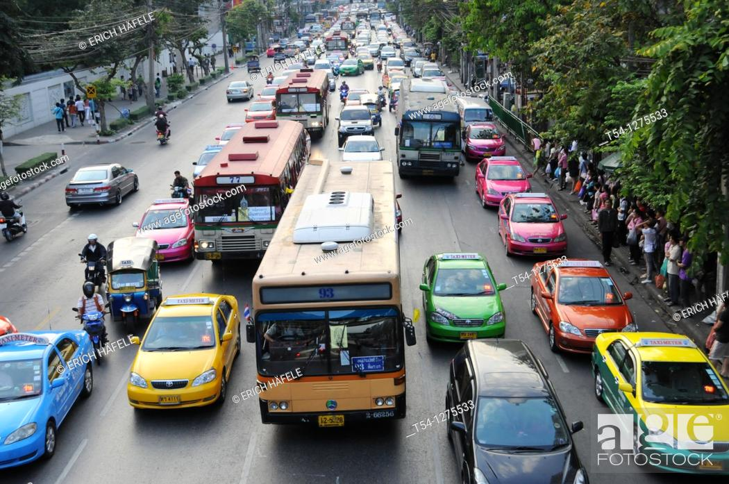 Stock Photo: Bus is standing in a traffic jam in Bangkok.