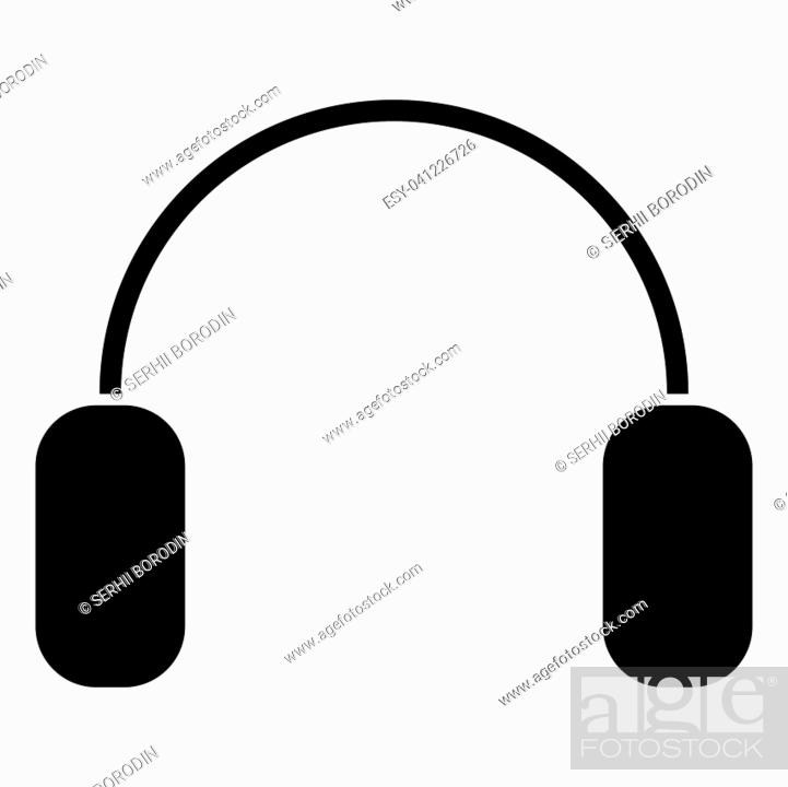 Stock Vector: Headphone it is the black color icon .