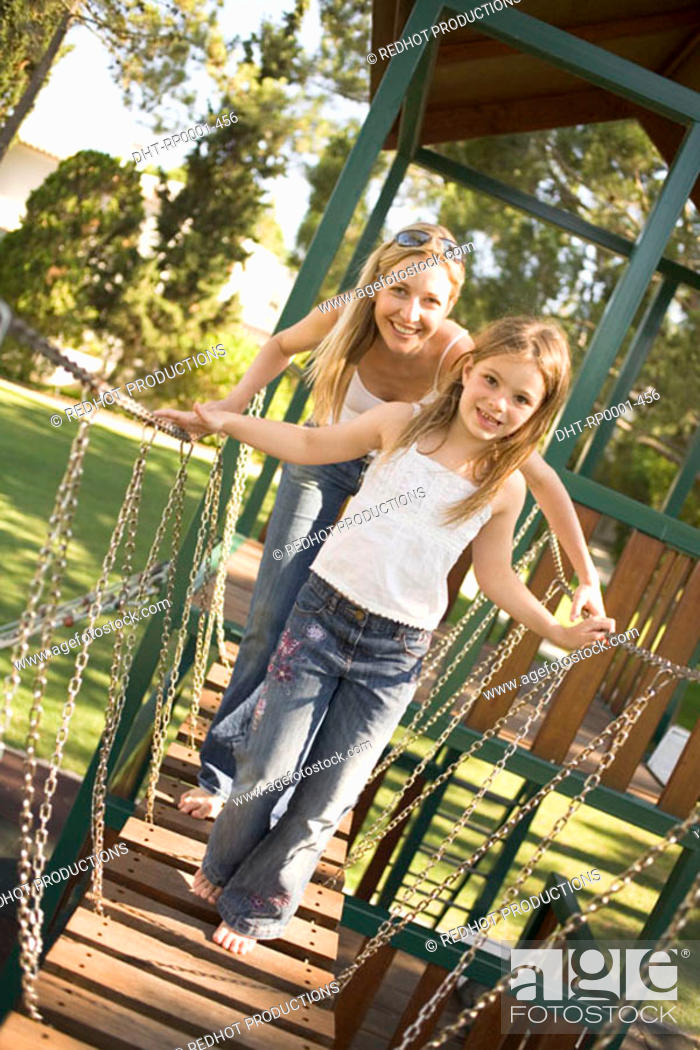 Stock Photo: Mother and daughter in Park.
