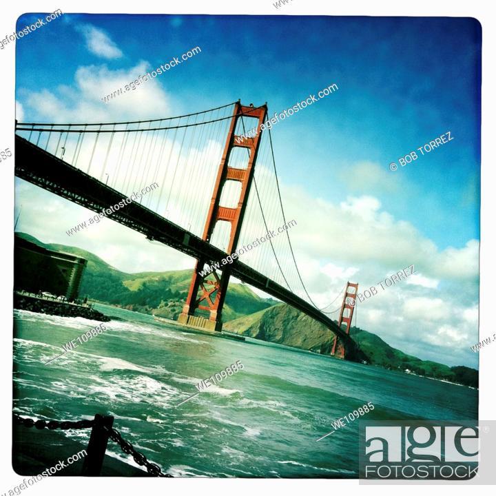 Stock Photo: Old polaroid style images of San Francisco Golden Gate Bridge, California, USA.