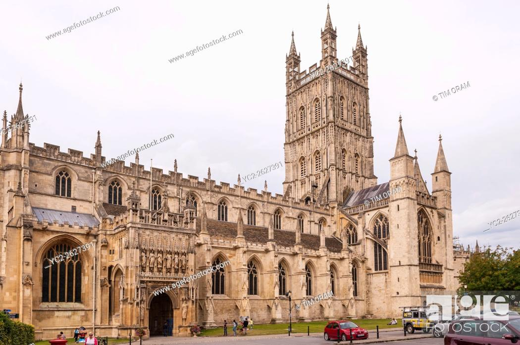 Stock Photo: The Cathedral at Gloucester , Gloucestershire , England , Britain , Uk.