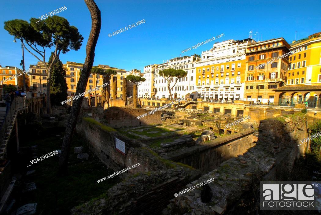 Stock Photo: Archeological site of Largo Argentina in Rome, Lazio, Italy, Europe.