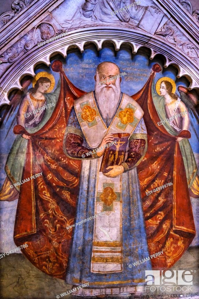 Imagen: Christian Saint Fresco Santa Maria Novella Church Florence Italy. First Church in Florence founded 1357.