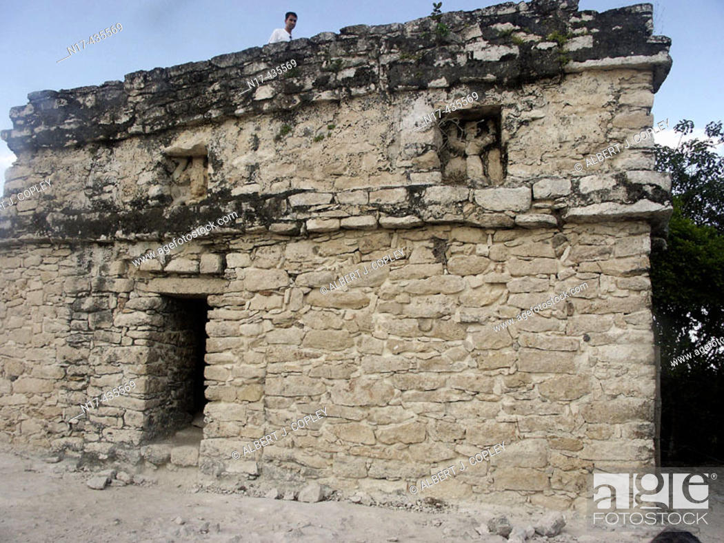 Stock Photo: Temple of the Churches in Coba, ruined city of the Pre-Columbian Maya civilization (600 A.D.). Quintana Roo, Mexico.