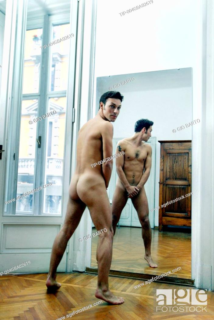 Naked guy in mirror