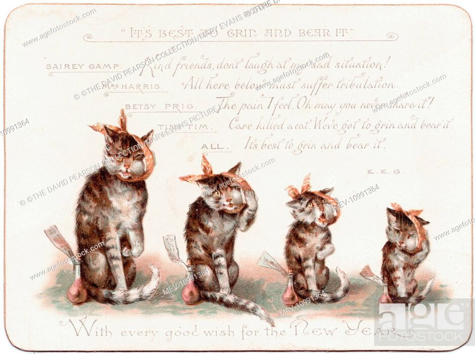 stock photo four cats with toothache on a new year card quoting from charles