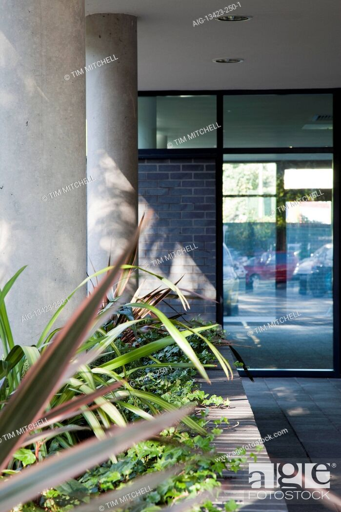 Stock Photo: Plants in entrance at The Sidings, Office space and residential apartments, Hampton Wick.
