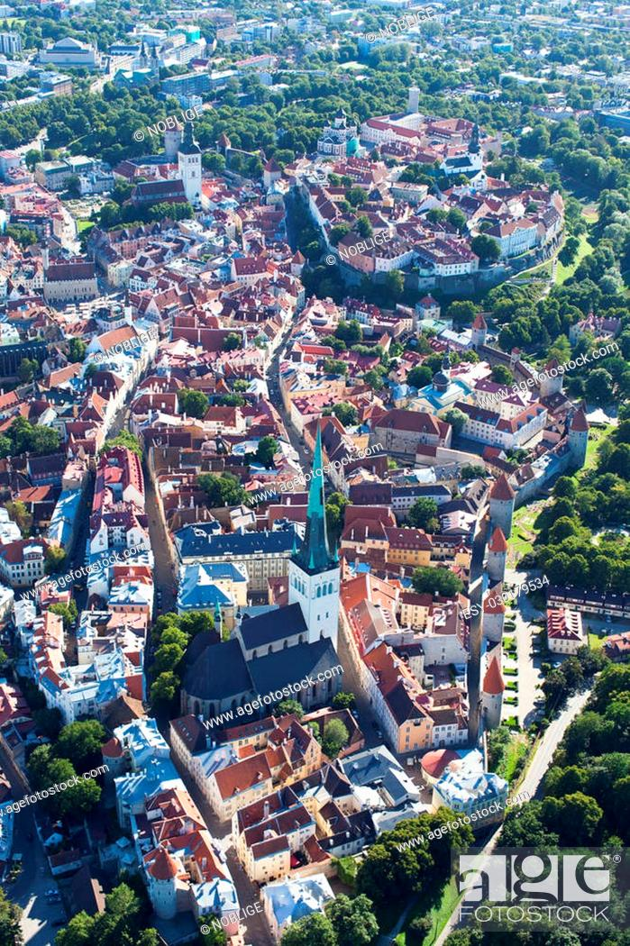 Stock Photo: aerial view from helicopter at old town of tallinn, estonia, unesco world heritage site.