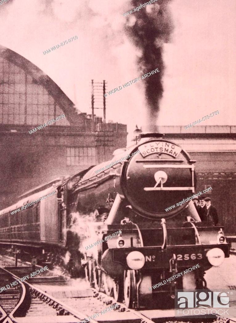 Stock Photo: steam locomotive Flying Scotsman built in 1923 for the London and North Eastern Railway.