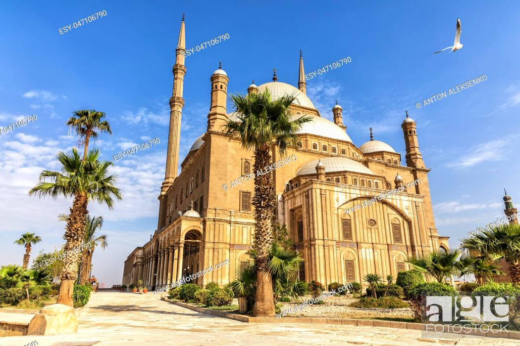 Stock Photo: The Great Mosque of Muhammad Ali Pasha or Alabaster Mosque in the Citadel of Cairo in Egypt.