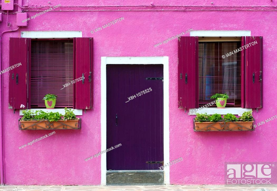 Stock Photo: Colourful houses in village of Burano near Venice in Italy.