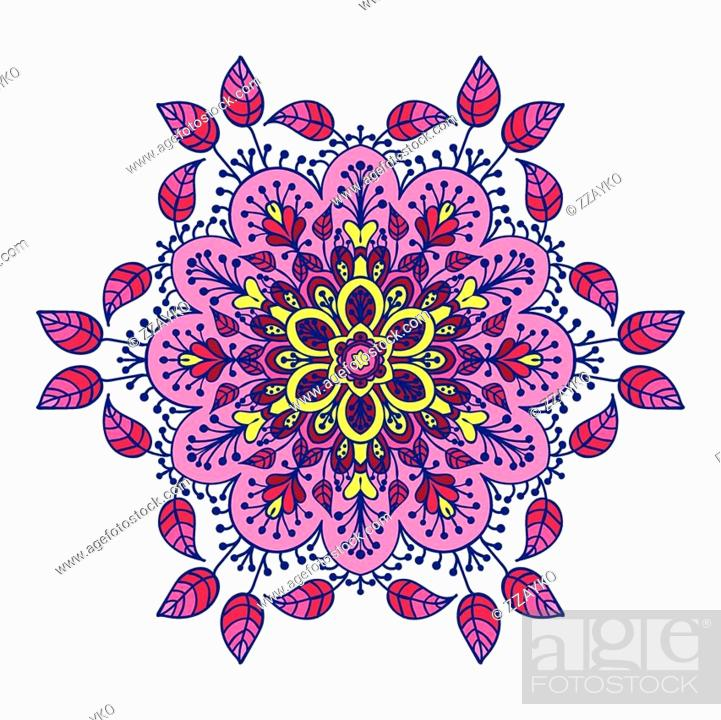 Stock Vector: Hand drawing zentangle element in different colors. Flower mandala. Vector illustration. The best for your design, textiles, posters, tattoos.