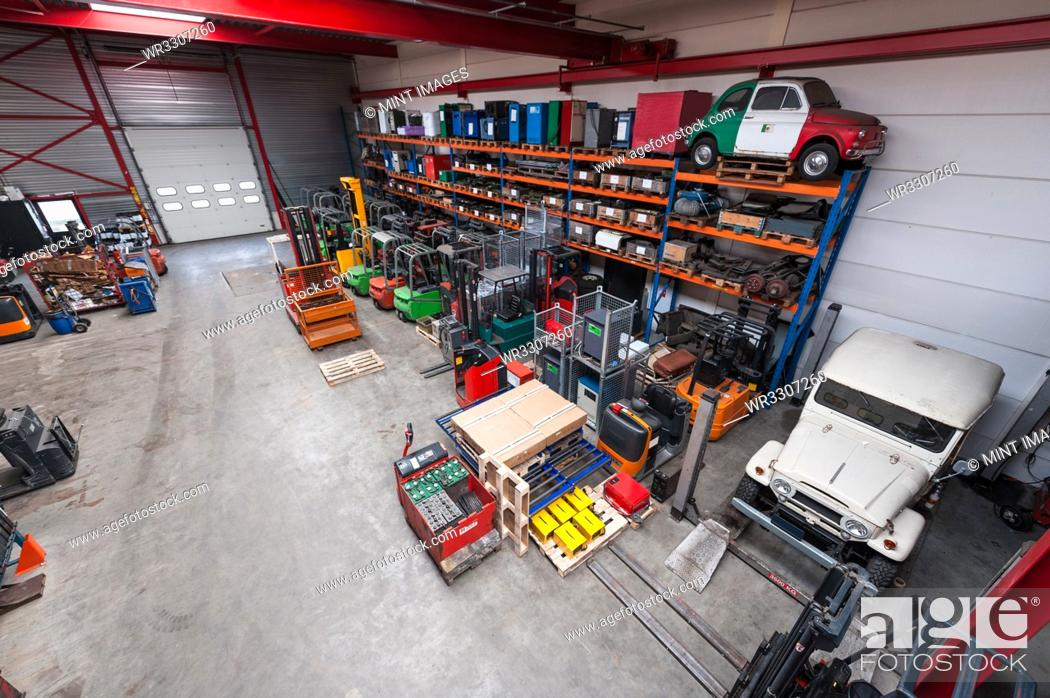 Stock Photo: High angle view of machinery in warehouse.