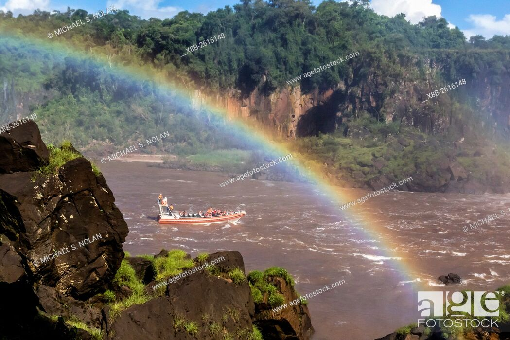 Stock Photo: A river boat at the base of the falls, Iguazú Falls National Park, Misiones, Argentina, South America.