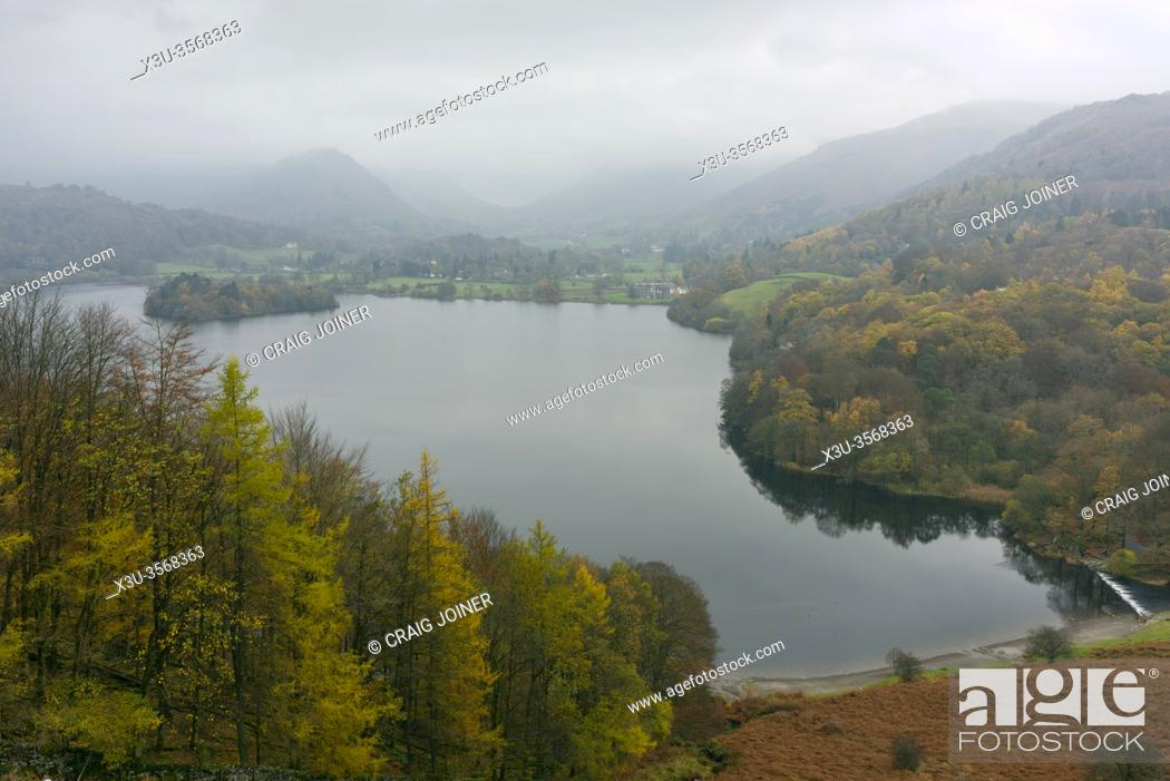 Stock Photo: Grasmere lake from Loughrigg Terrace on a misty autumn day in the Lake District National Park, Cumbria, England.