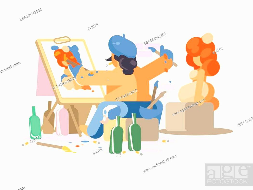 Stock Vector: Painter draws naked girl. Creative person creates work of art. Vector illustration.