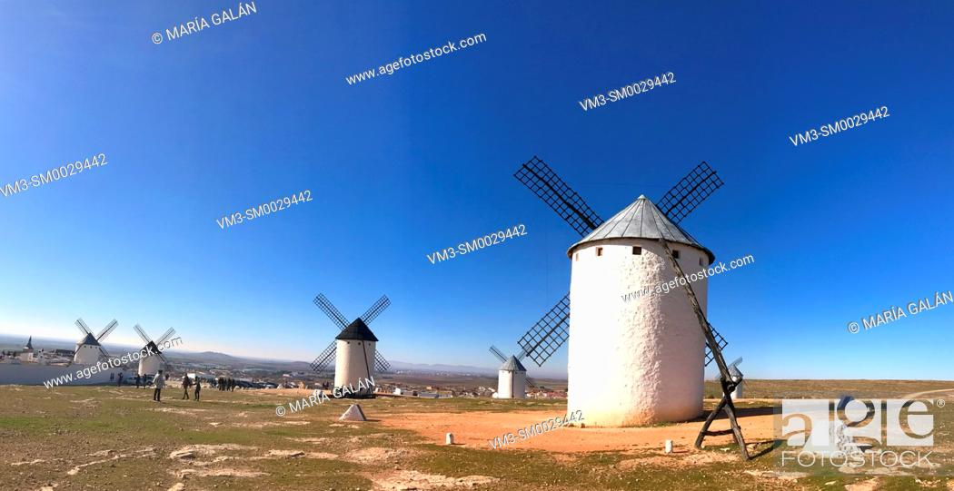 Stock Photo: Windmills, panoramic view. Campo de Criptana, Ciudad Real province, Castilla La Mancha, Spain.