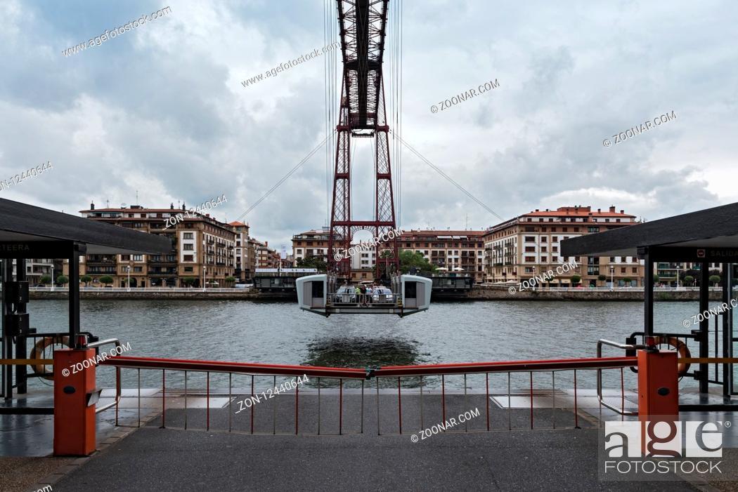 Stock Photo: the suspension bridge of bizkaia (puente de vizcaya) between getxo and portugalete over the ria de bilbao.