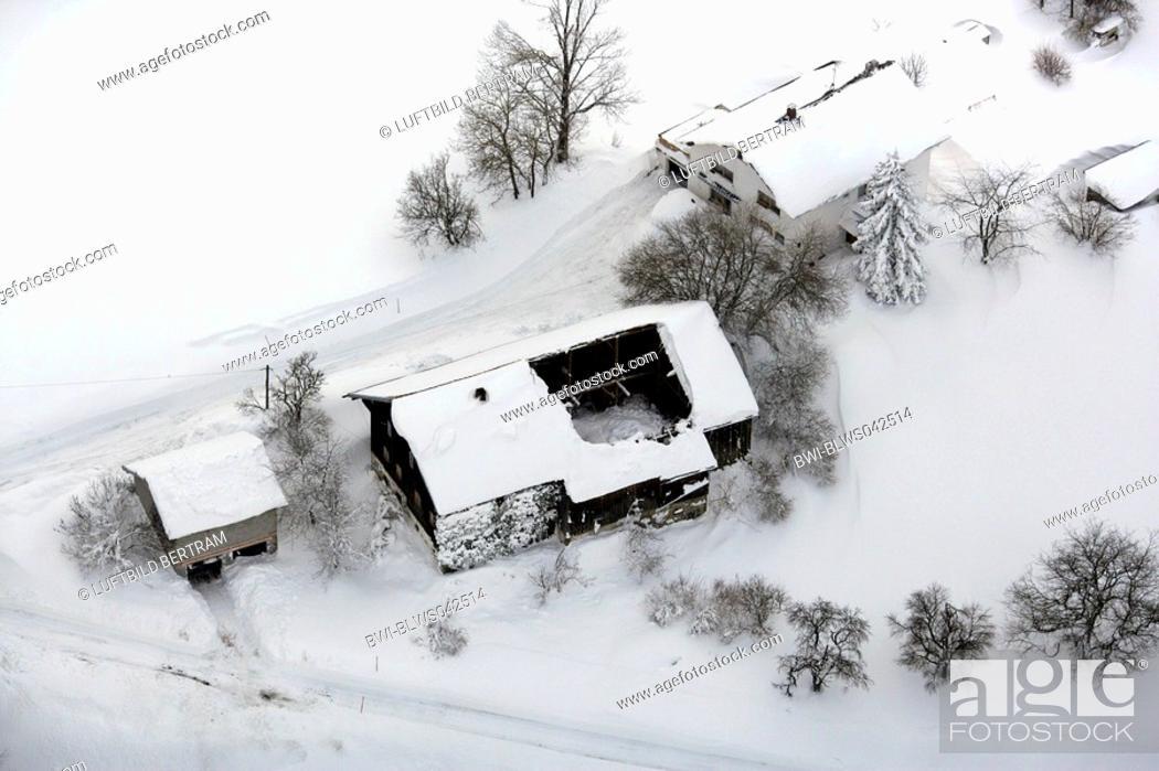 Stock Photo: snow chaos, collapsed roof, Germany, Bavaria, Landkreis Freyung Grafenau.