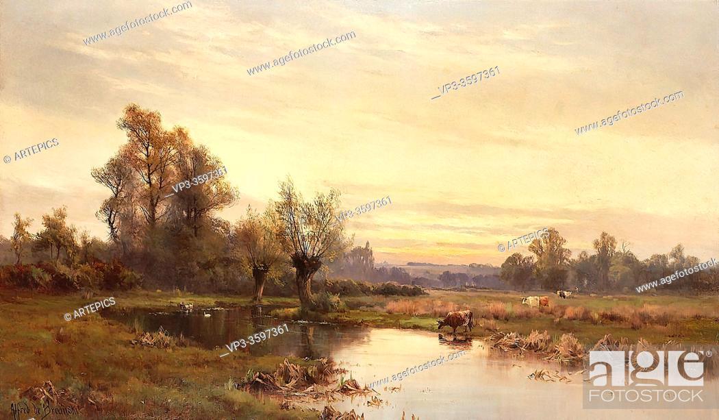 Stock Photo: Breanski I Alfred De - an April Evening - British School - 19th Century.