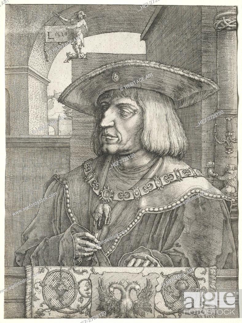 Stock Photo: Emperor Maximilian I, 1520. Creator: Lucas van Leyden (Dutch, 1494-1533).