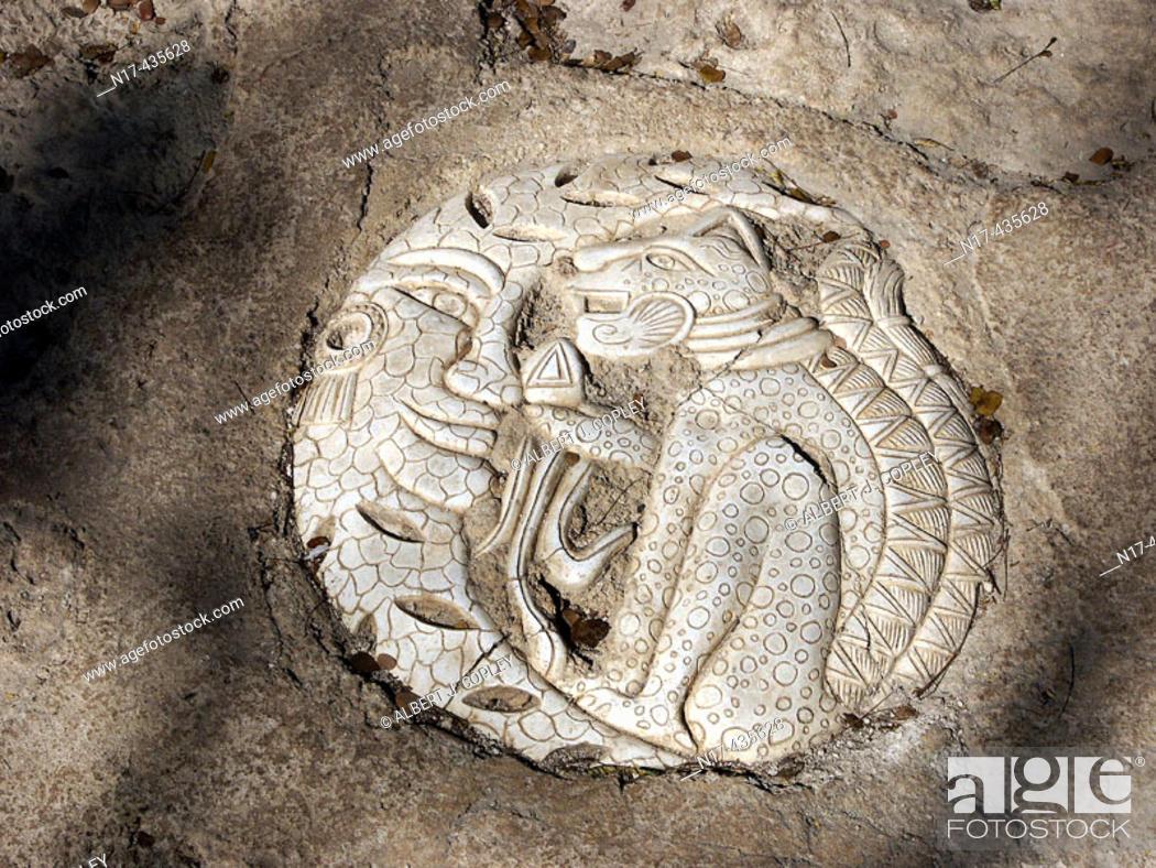Stock Photo: Jaguar Maya glyph from Yucatan Peninsula, Mexico.