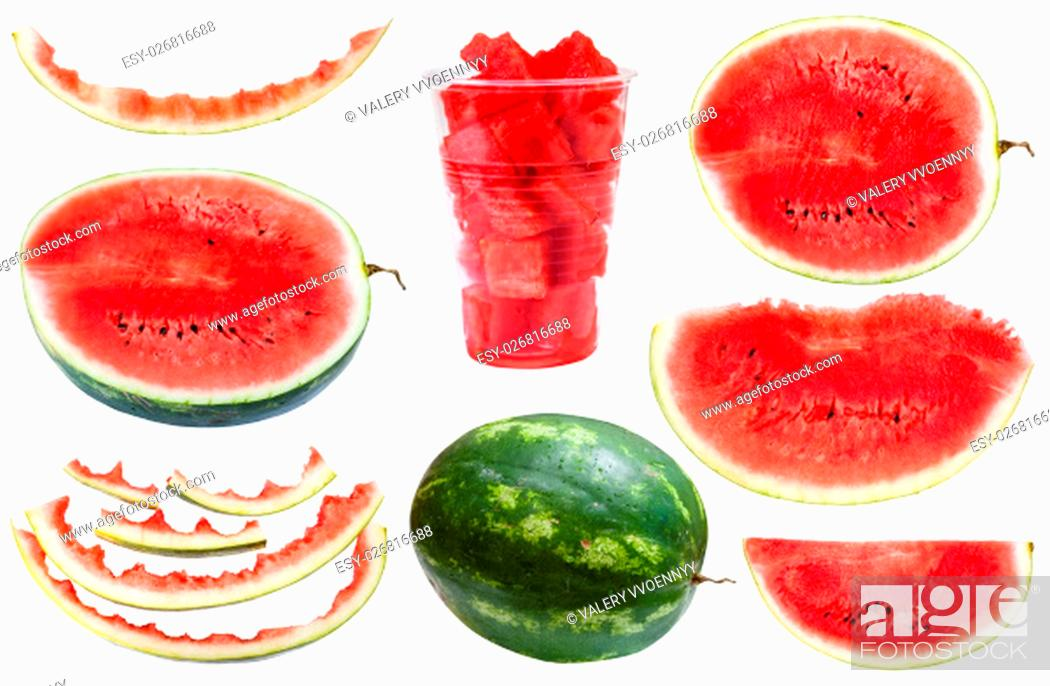 Stock Photo: set from whole and sliced watermelons and rinds isolated on white background.