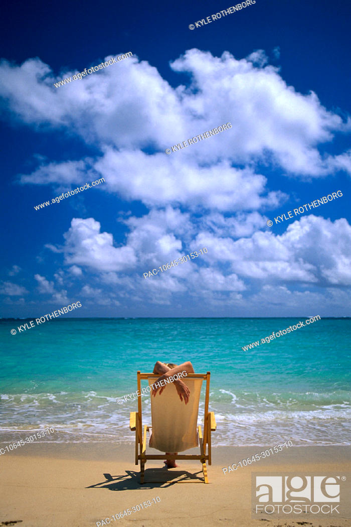 Super Woman Lounging In Beach Chair Face Water Arms Cross Over Ocoug Best Dining Table And Chair Ideas Images Ocougorg