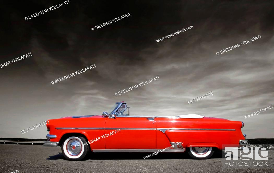 Stock Photo: Red Classic Car.