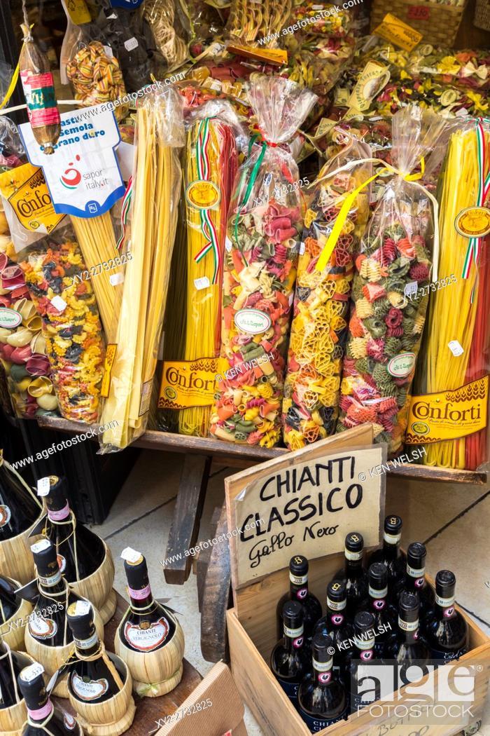 San Gimignano, Siena Province, Tuscany, Italy  Pasta and Chianti