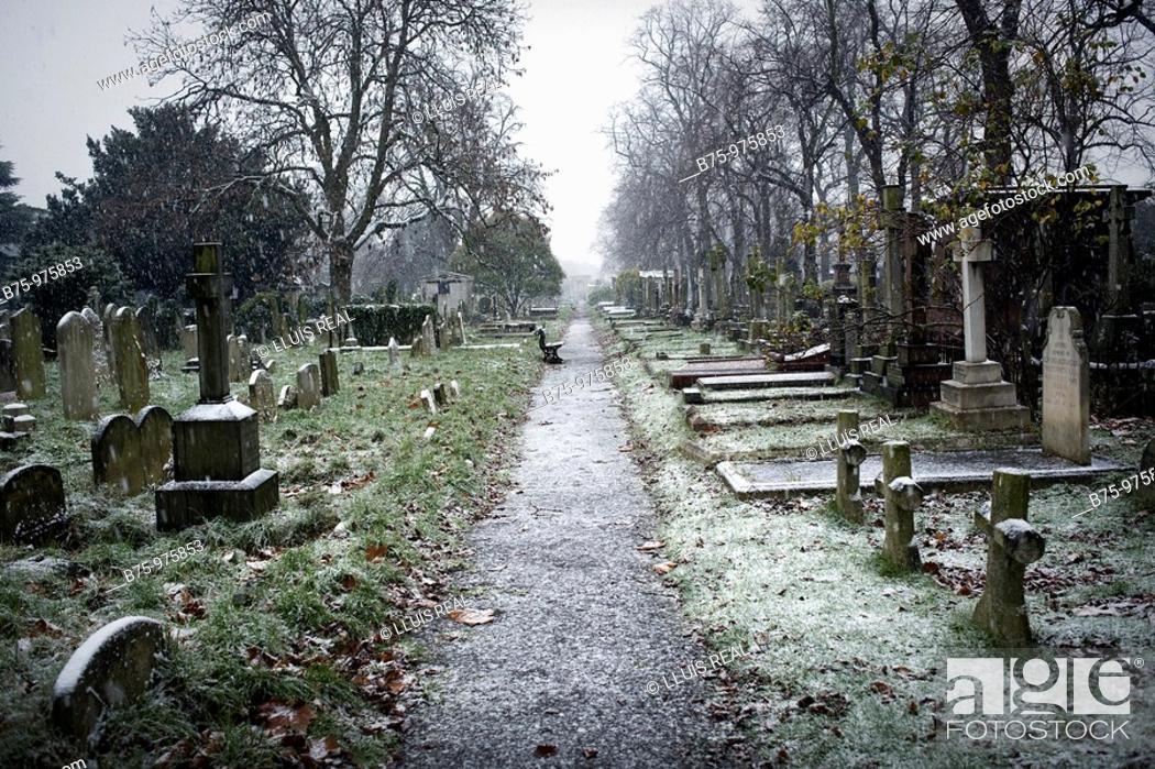 Stock Photo: Bromton cemetery in London. England, UK.