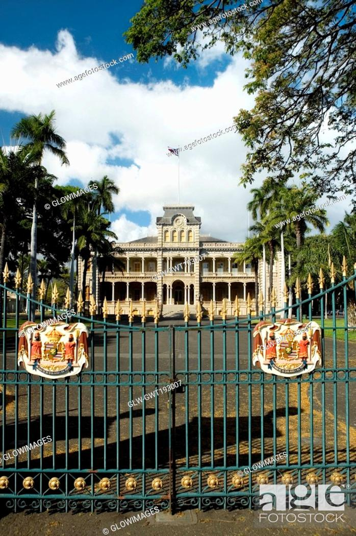 Stock Photo: Facade of a government building, State Capitol Building, Iolani Palace, Honolulu, Oahu, Hawaii Islands, USA.