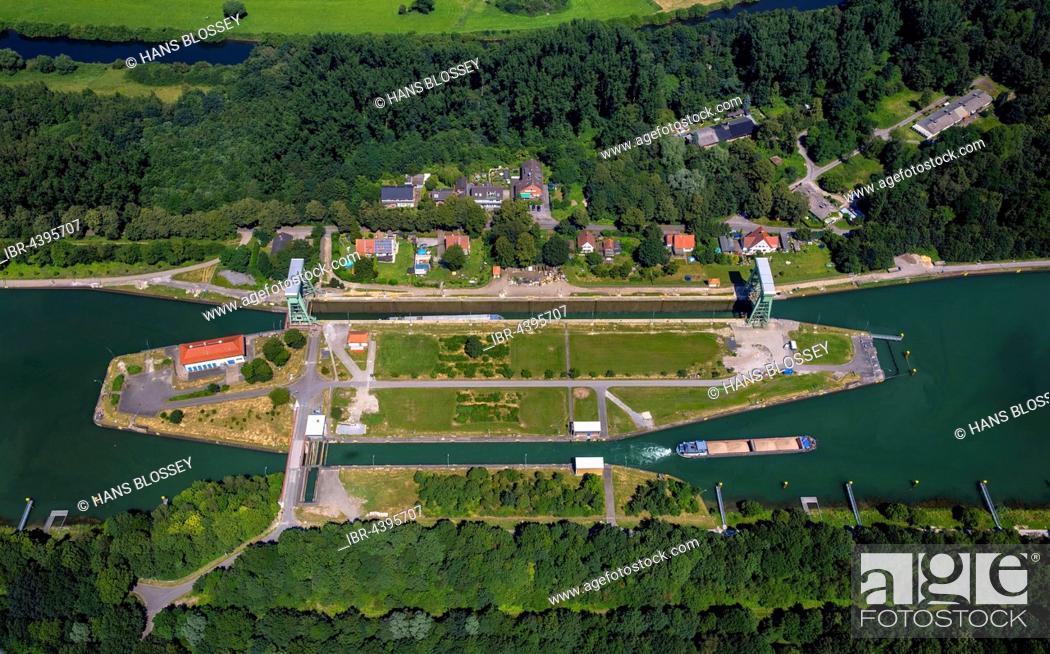 Stock Photo: Aerial view of Dorsten Lock, Wesel-Datteln Canal, inland waterways, Dorsten, Ruhr, North Rhine-Westphalia, Germany.
