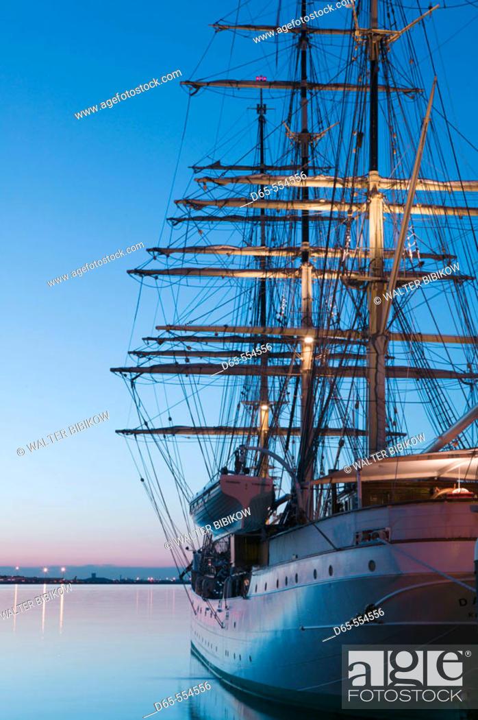 Stock Photo: Tallship 'Danmark', Rowes Wharf, Boston harbor, Massachusetts. USA.