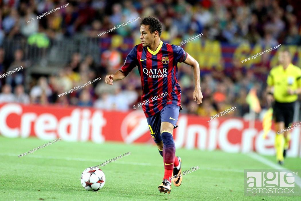 Stock Photo: FC Barcelona. Neymar in action.