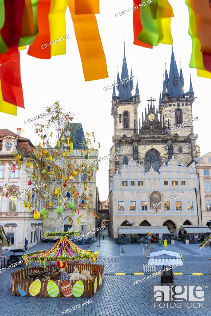 Stock Photo: Easter decoration on the old town square, Prague, Czech Republic.