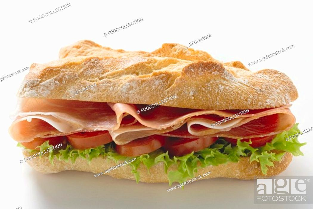 Stock Photo: Sub sandwich with raw ham.