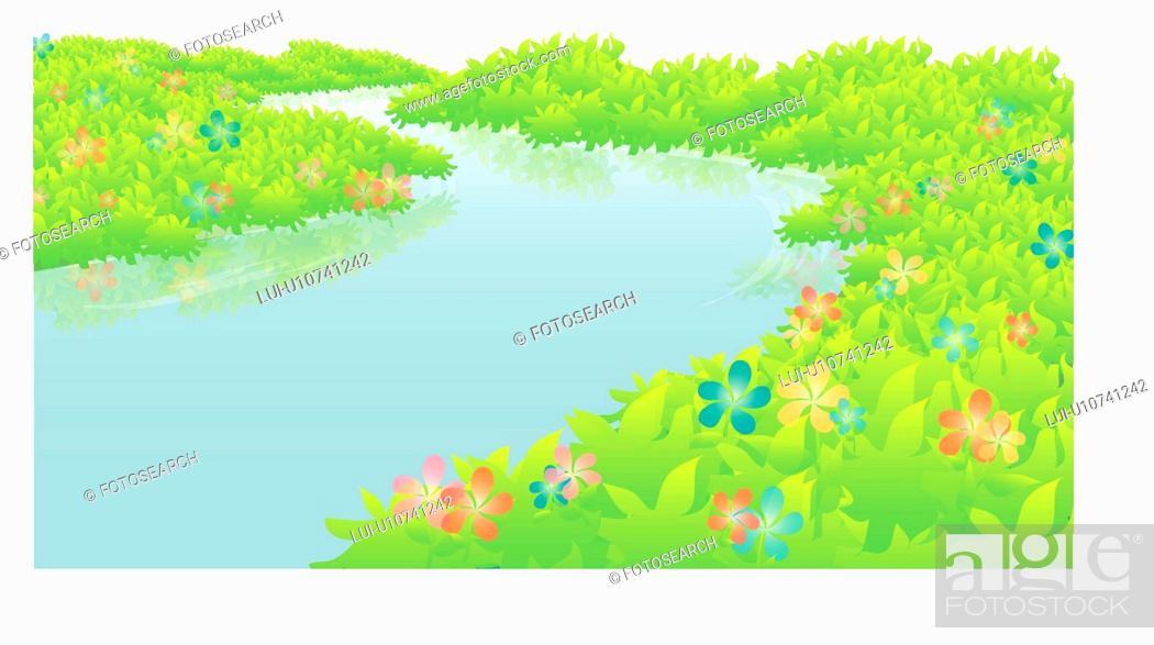 Stock Photo: water, nature, natural phenomena, scene, flower, scenery, river.