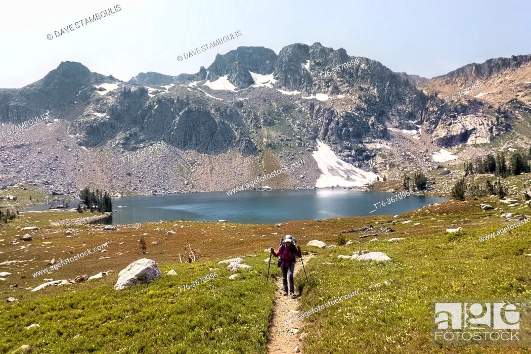 Stock Photo: Climbing from Lake Solitude on the Teton Crest Trail, Grand Teton National Park, Wyoming, USA.