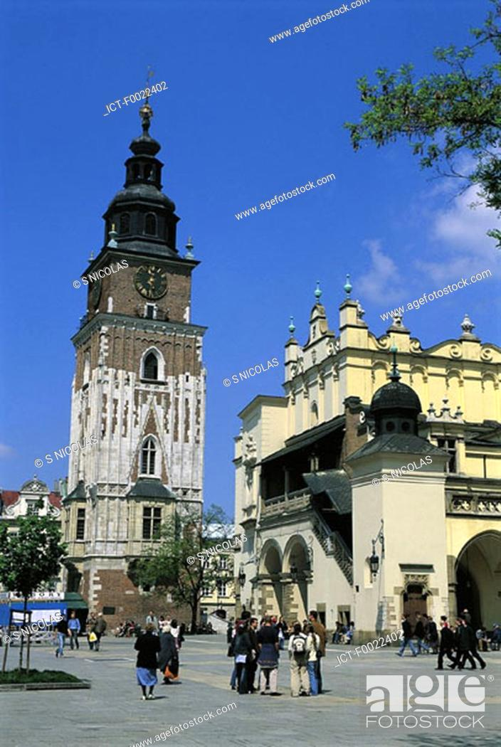 Stock Photo: Poland, Kracow, City hall tower.