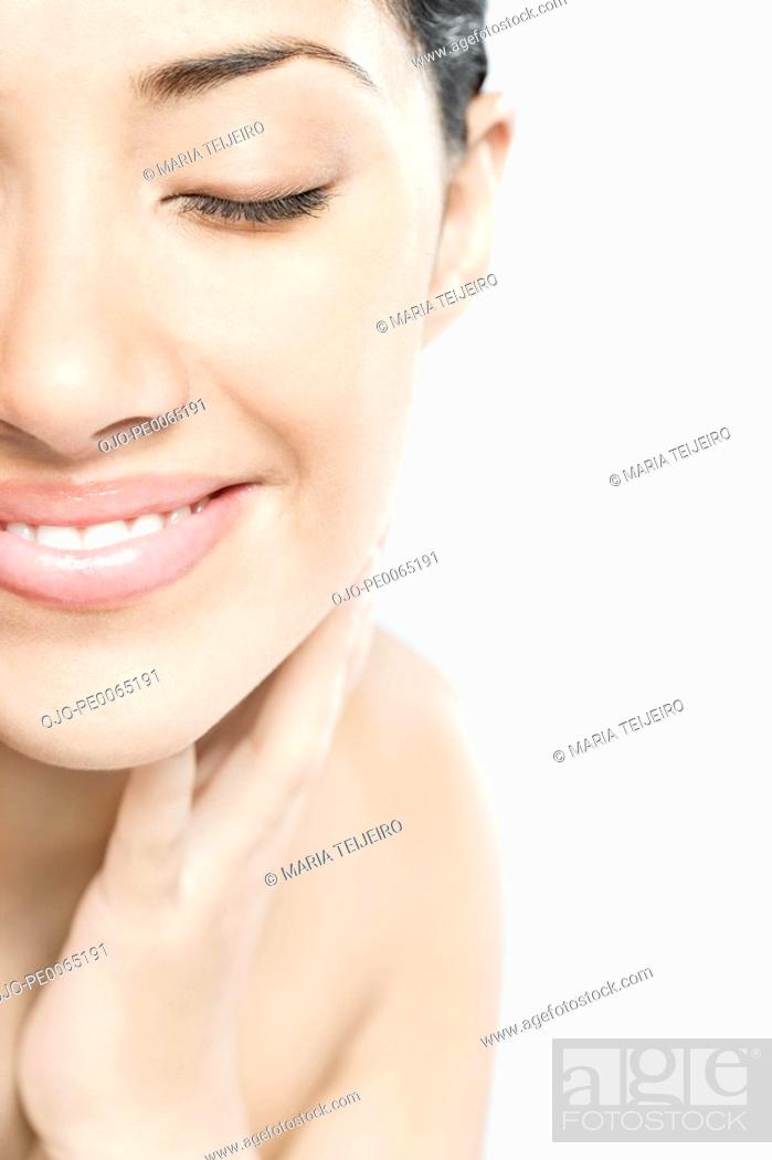 Stock Photo: Close up of woman's face.